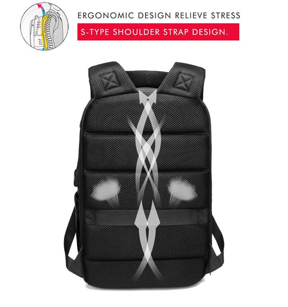 NEW 15.6 Inch Laptop Travel Backpack Water Repellent Functional Rucksack With USB Charging Port