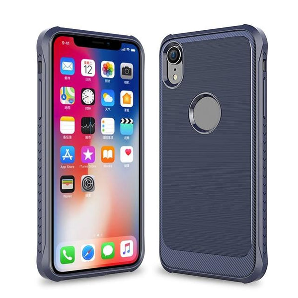 New Luxury Brushed Carbon Fiber Anti-Slip Cover Protective Phone Case For iPhone X XS Max XR