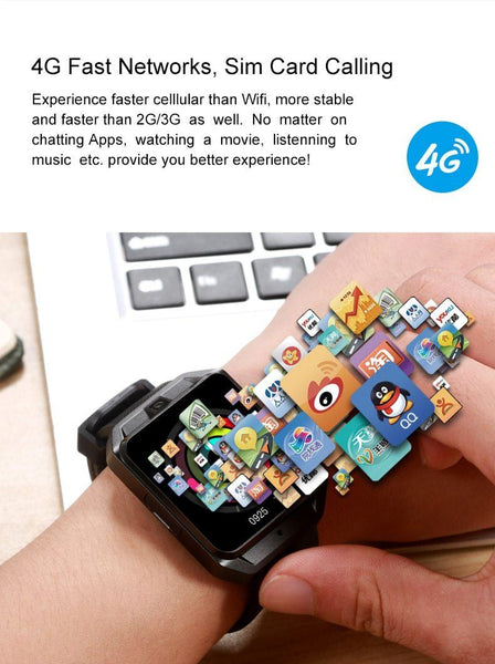 "New 4G LTE WIFI Quad Core 1GB/8GB Android GPS Bluetooth Smartwatch 1.54"" Heart Rate Monitor For iPhone Android"