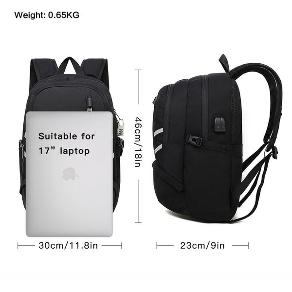 New 17 Inch Large Capacity Laptop Backpack Mochila Multifunctional USB Charging Casual School Bag