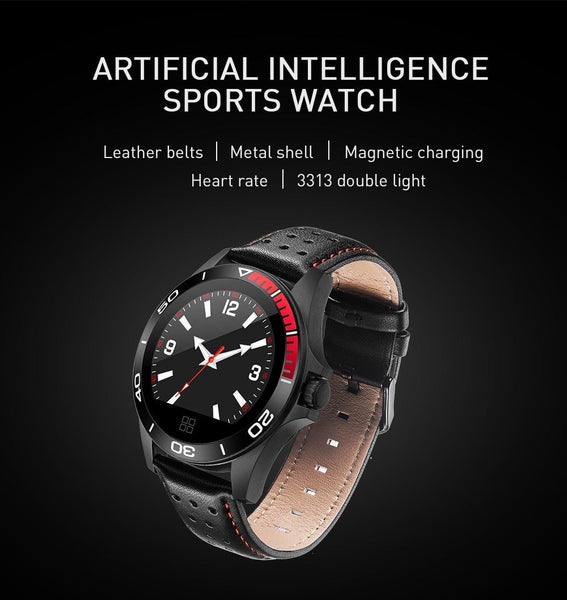 New Leather Band Smart Watch With Heart Rate Sleep Monitor Fitness Tracker Blood Pressure Smartwatch For iPhone Android