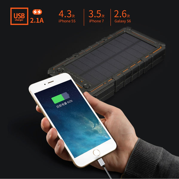 New Waterproof 10000mAh Solar Power Bank External Battery Charger With SOS Strobe LED Light For iPhone Android