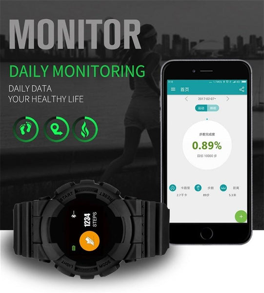New Smart Watch IP68 Fitness Tracker Blood Pressure/Heart Rate Monitor Bluetooth Outdoor Waterproof Smartwatch