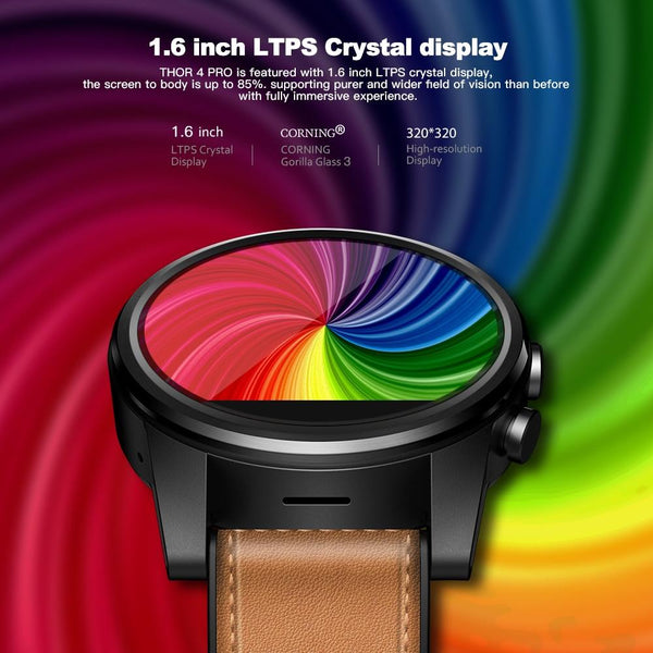 New 4G WIFI Crystal Display GPS Quad Core Hybrid Leather Strap Smartwatch For Android iPhone