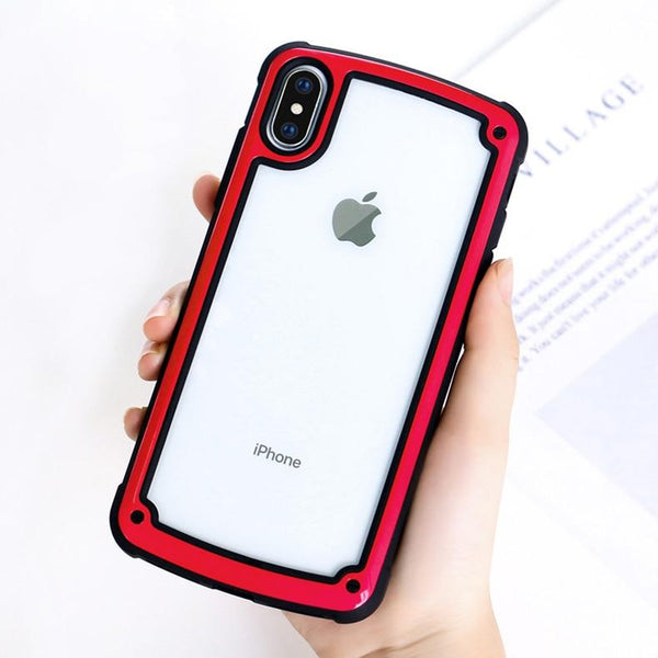 New Luxury Transparent Case Shockproof Armor Protective Case Cover For iPhone X XS Max XR 8 Plus