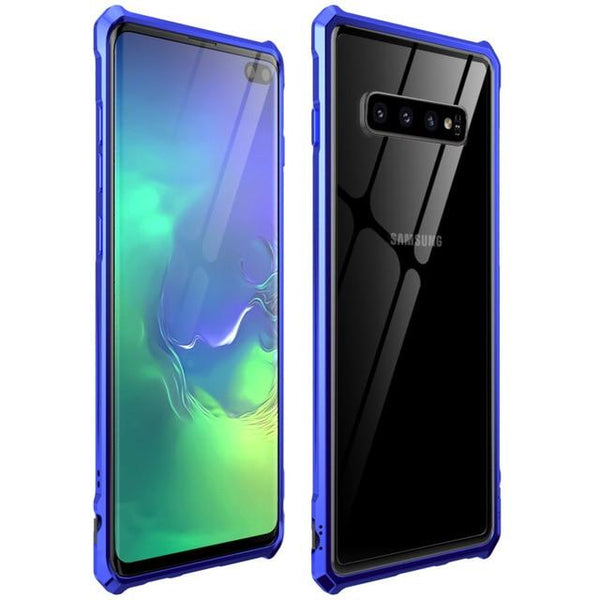 New Luxury Metal Armor Cover Case Frame Shell Bumper Back Clear Glass For Samsung S10 Note 10 Plus