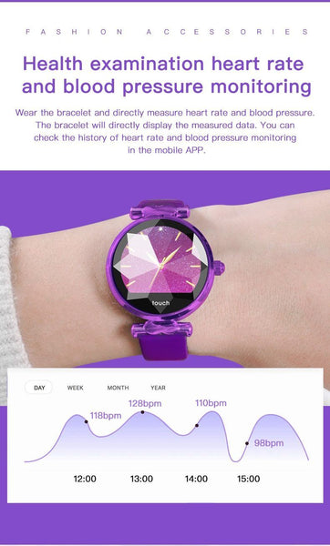 New Luxury Lady's Bluetooth Smart Watch Bracelet Waterproof Fitness Heart Rate Blood Pressure Tracker For iPhone Androids