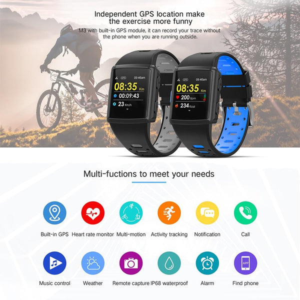 New Sport Smart Watch GPS IP68 Waterproof Heart Rate Monitoring Full Touch Screen Smartwatch For iPhone Android