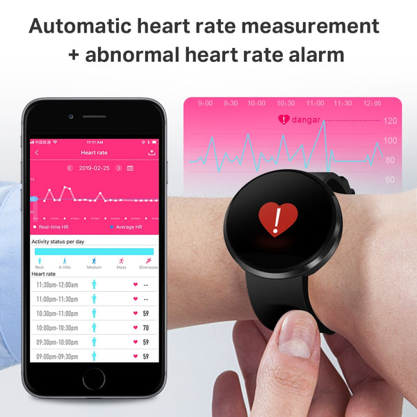 New 1.22 Inch LCD Color Display IP68 Waterproof Heart Rate Monitor Fitness Bracelet For Ladies