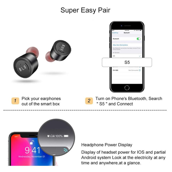 New TWS Wireless Bluetooth 5.0 Earphone IPX7 Waterproof Headset Stereo Earbuds Microphone With Charging Case