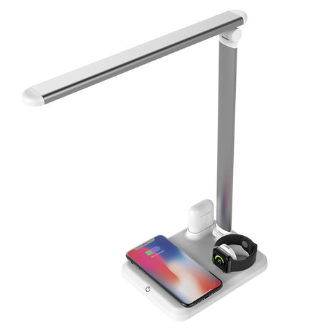 New 4-In-1 LED Table Desk Lamp Wireless Charger For Compatible iPhones Airpods Apple Watch