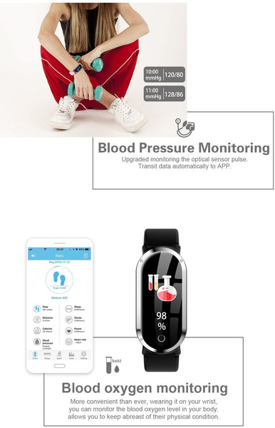 New Smart Wristband Unisex Bracelet Heart Rate Blood Pressure Monitor Fitness Tracker Watch Sport Band Pedometer