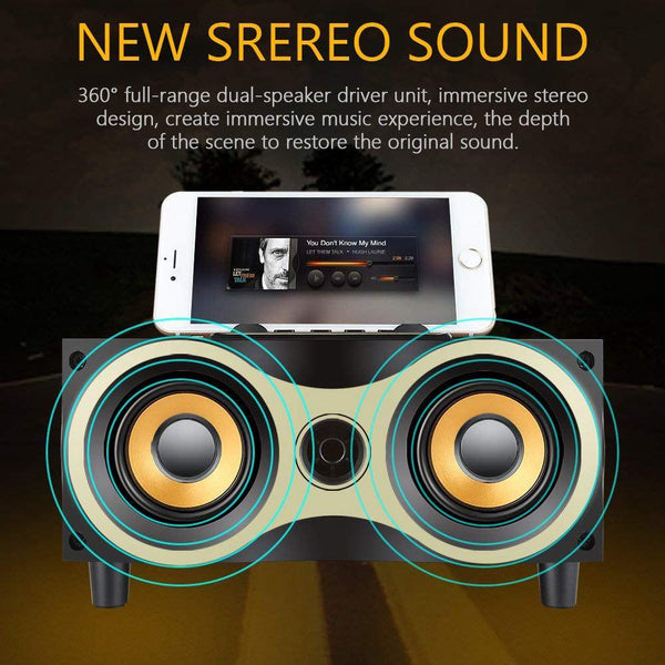 New Retro Desktop Portable Wooden Wireless Subwoofer Stero Bluetooth Speaker With FM Radio Holder For iOS Android