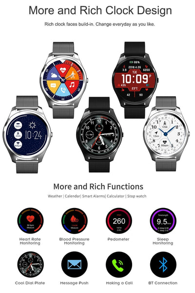 New Metallic Sport Smart Watch Men Heart Rate Blood Pressure Monitor Smartwatch for Android IOS