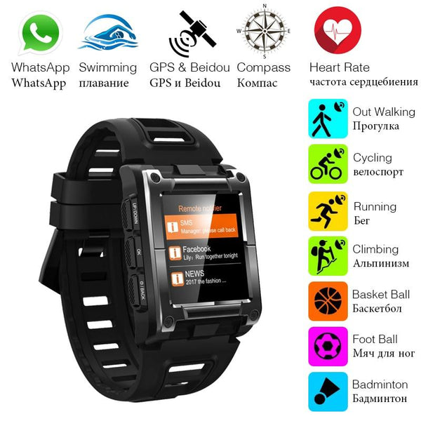 New IP68 Waterproof GPS Compass Bluetooth Smart Watch Heart Rate Monitor For iPhone Android