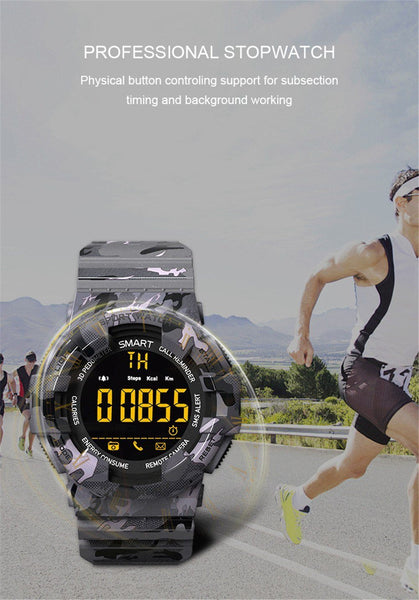 New Rugged Outdoor Camouflage Bluetooth IP67 Waterproof Smartwatch With Fitness Motion Tracking For iOS Android