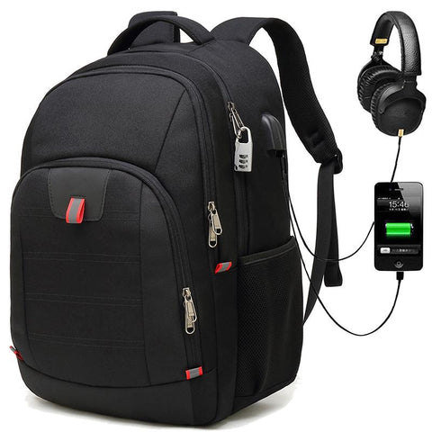 "New Multifunctional Anti-Theft 17"" Large Capacity Computer USB Charging Travel Backpack Mochilla"