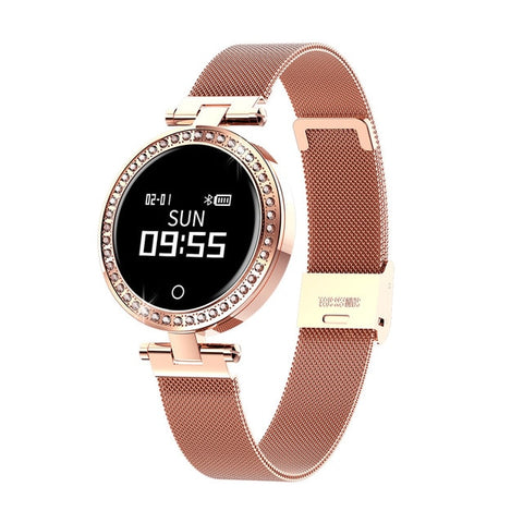 New IP68 Waterproof Heart Rate Blood Pressure Monitor Pedometer Calorie Smartwatch For Women Ladies