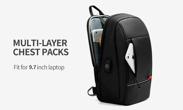New 9.7 Inch Shoulder Bag Business Cross-Body USB Charging Chest Pack Messenger Bag For Tablet iPad