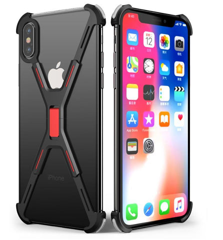 New Ultra Slim Luxury X Shape Metallic Shockproof Shell Bumper Case For iPhone X XR XS MAX