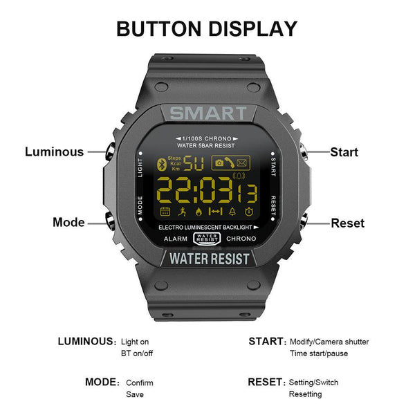 New Waterproof Rugged Sport Pedometer Digital Fitness Tracker Smartwatch For iPhone Android