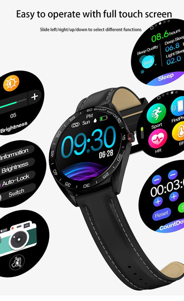 New Round Screen Heart Rate Blood Pressure Sleep Monitor Smartwatch Fitness Tracker Clock For iPhone Android