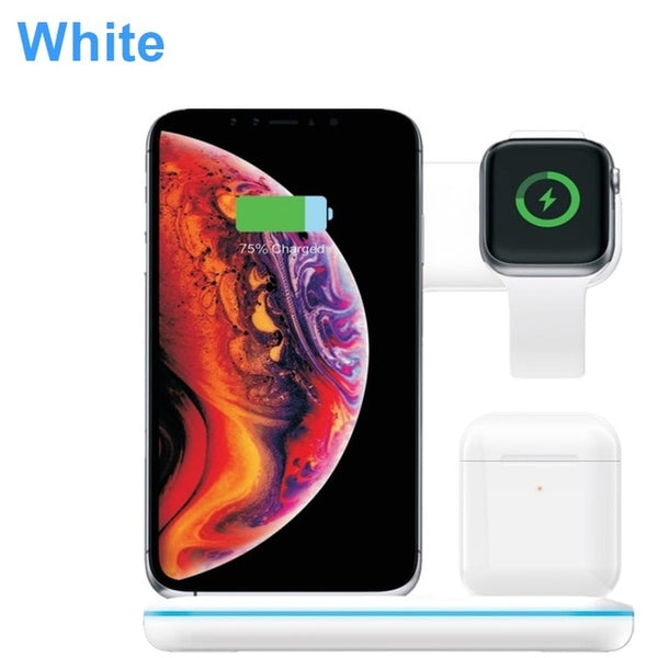 New Universal 15W Qi Wireless Quick Charge 3.0 Fast Charger Dock Stand For Apple iPhones Airpods iWatch