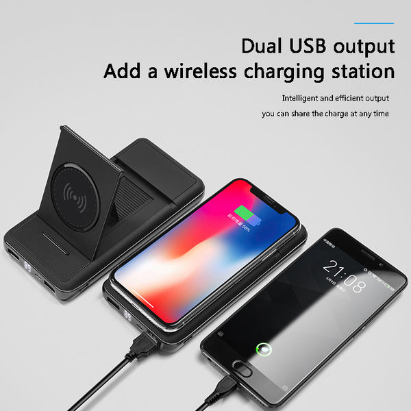 New 20000mah Digital Display Stand Wireless Charging Mobile Power Bank External Charger