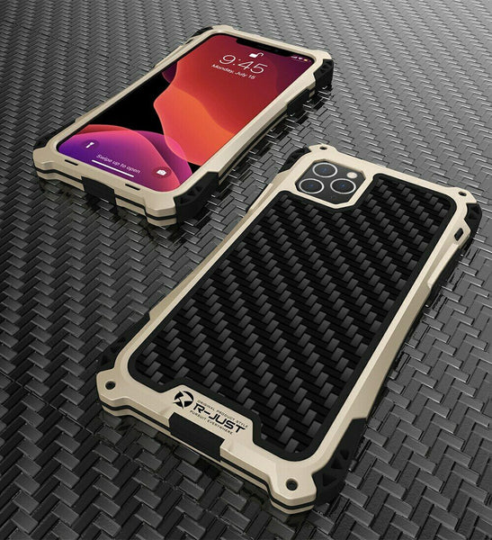 New Carbon Fiber Suited Outdoor Shockproof Alloy Tempered Glass Case Cover for iPhone X XS XR 11 Pro Max Series