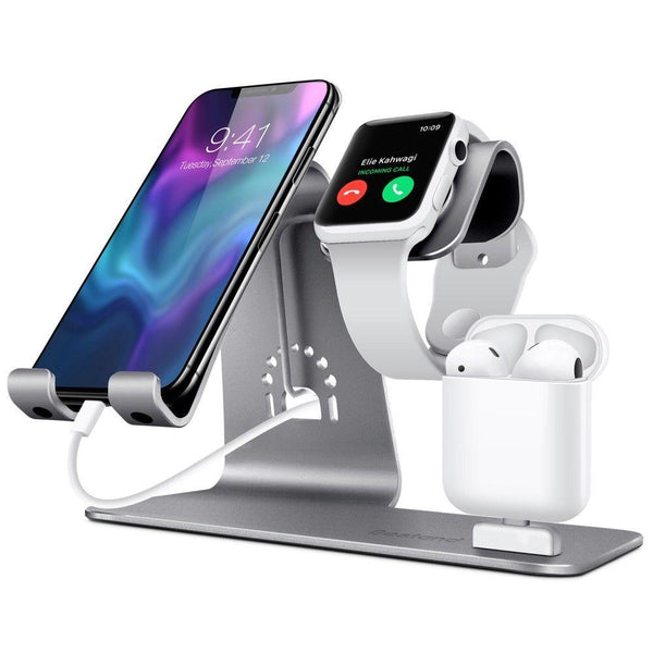 New Super Compact 3 in 1  iWatch Qi Stand Airpods Charger Dock Phone Desktop Tablet Holder for Airpods