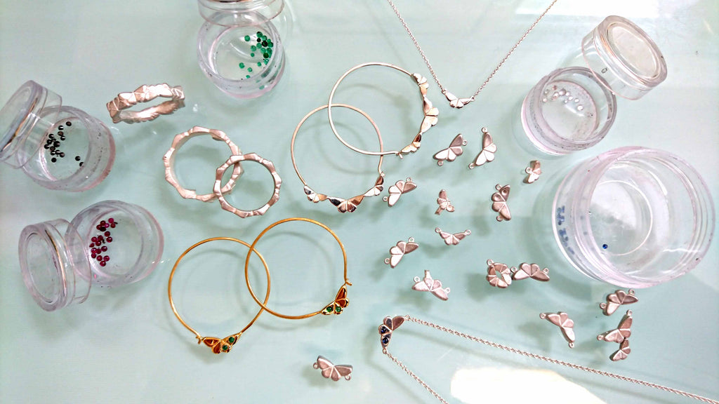 Butterfly pieces and gemstones from the butterfly jewellery collection