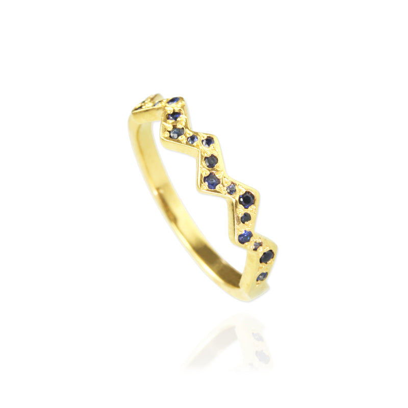 Golden Zig Zag Ring with blue Sapphires, size O