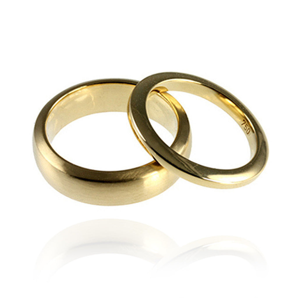 18ct Yellow Gold Bevelled Wedding Bands