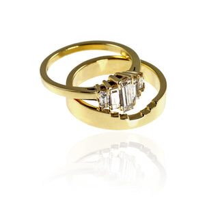 18ct Yellow Gold and Diamond Baguettes Set