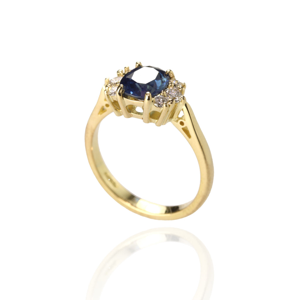 Sapphire and Diamonds Engagement Ring