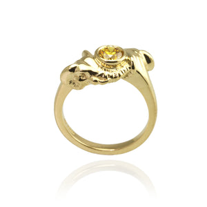 Golden Elephant Ring with Yellow Diamond