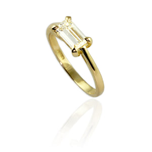 18ct Yellow Gold with Emerald Cut Diamond