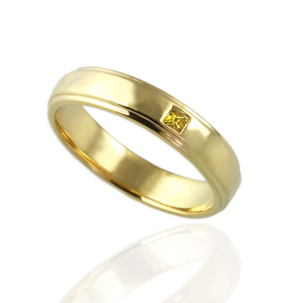 Man's Wedding Band with Princess Yellow Diamond