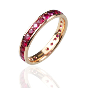 Ruby and 18ct Rose Gold Eternity Ring