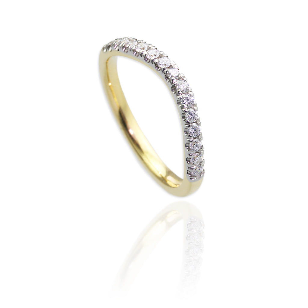 18ct Yellow Gold with Diamonds & 18ct White Gold Wedding Bands