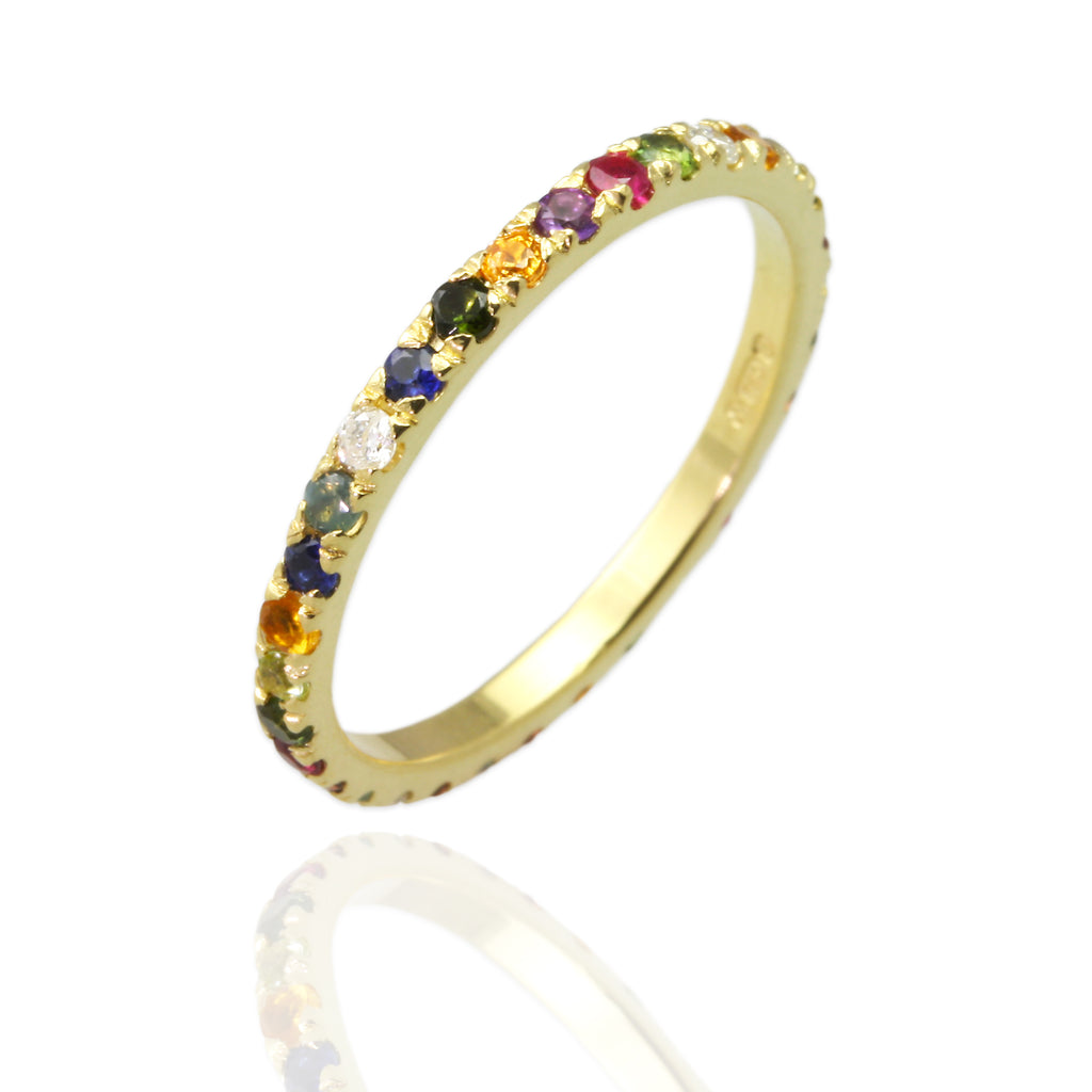 18ct yellow gold eternity ring with gems