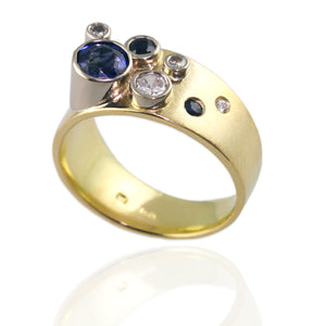 18ct Yellow Gold Band with Sapphires and Diamonds