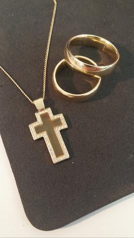 Gold & Amber Cross Necklace