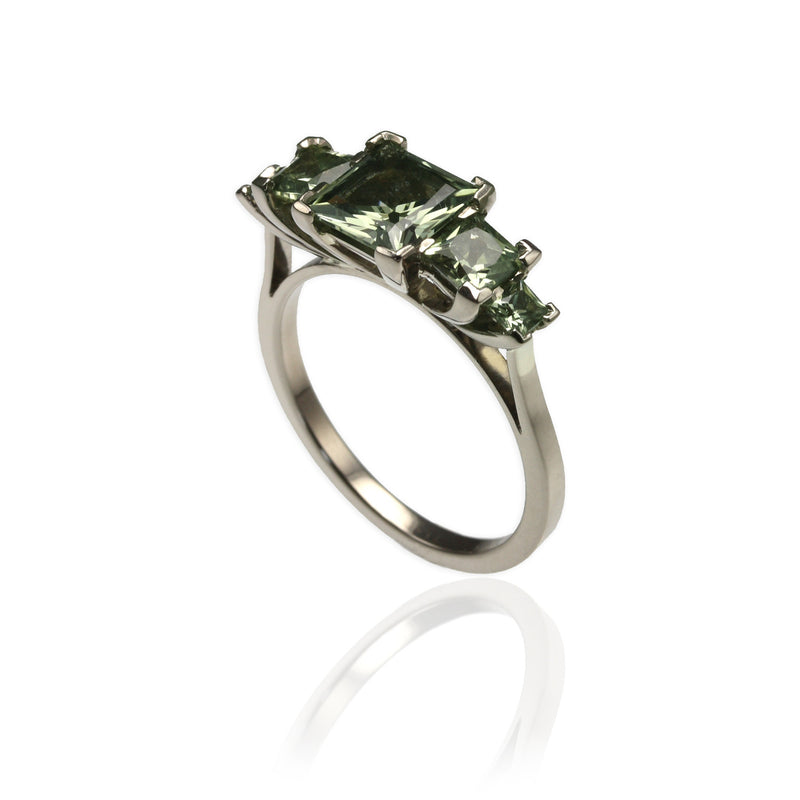 White Gold & Green Sapphires Ring
