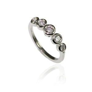 Platinum with 5 Diamonds Engagement Ring