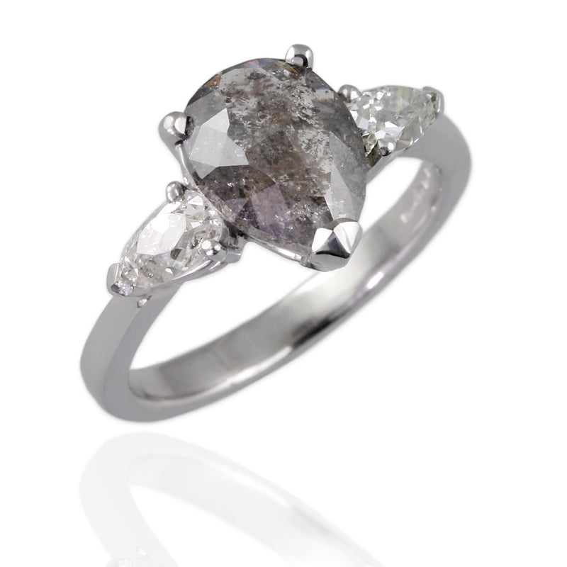 950 Platinum Engagement Ring with a Salt and Pepper Diamond