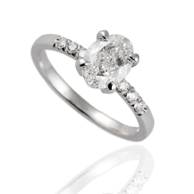 950 Platinum with Oval and Round Diamonds Engagement Ring