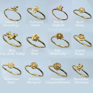 Chrysanthemum Ring - November Birth Flower Ring