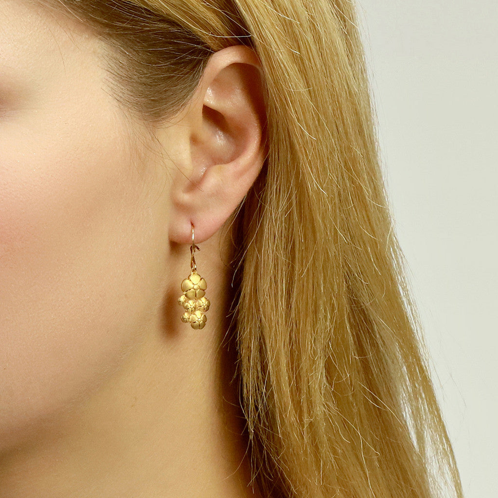 Flower Hook Earrings in yellow gold vermeil