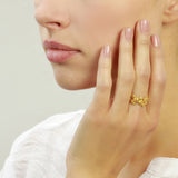 Golden Flower Scatter Ring size M